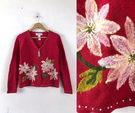 Vintage Christmas Sweater, Poinsettia Flower Sweat