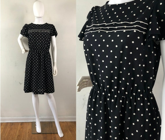 Vintage 1970s Polka Dot Dress, Murray Meinser Blac