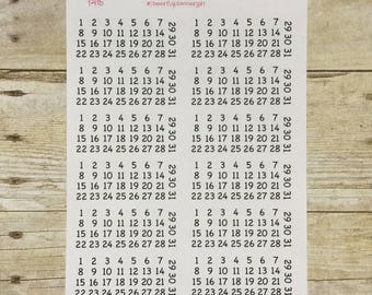 Date Dots 12 sets of 1 thru 31 Numbers Planner Stickers