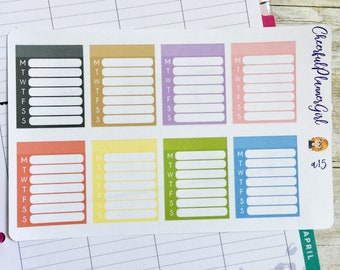 Pastel Blank Weekly Boxes Planner Stickers