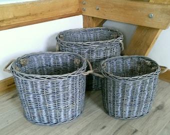Wicker Basket - Handmade for Storage. Different Shapes, Sizes and Designs. Laundry Basket, Log Basket.