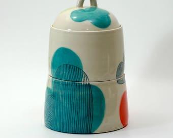 Large Two-Part Ceramic Cloud Kitchen Jar