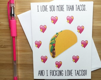 Funny Taco Love Card, Cute Romantic Card, Happy Valentine's Card, Happy Anniversary Card, Love Card for BF, Cute Card for Girlfriend, Love