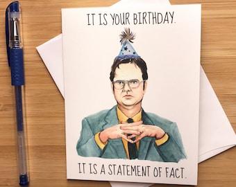 Funny Dwight Office Birthday Card Nerdy Greeting Friend Happy Boyfriend Pop Culture