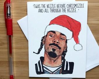 Chrismizzle Funny Christmas Card, Xmas Gift, Hip Hop Xmas, Rap Music, Funny Holidays Card, Santa Claus, Happy Holidays Greeting Card