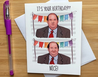 Kevin Nice Birthday Card The Office Chili Coworker Dwight Mike Funny