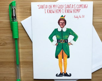 Funny Elf Christmas Card, Will Ferrell, Funny Christmas Cards, Funny Holidays Cards, Merry Christmas, Santa Clause Gift, Xmas Humor Gift