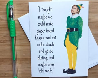 Funny Elf Christmas Card, Elf Holiday Card, Will Ferrell, Stocking Stuffers, Funny Xmas Card, Santa Clause Greeting Cards, Christmas Humor