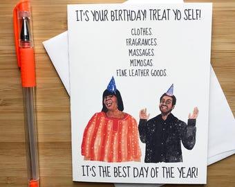Treat Yo' self Birthday Card, Cute Birthday Gift, Treat Yourself, Funny Birthday Cards, Handmade Birthday Card, Happy Birthday Card Friend,