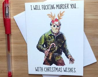 Funny Jason Christmas Card, Horror Themed Xmas Gift, Naughty Christmas Gift, Festive Holiday Card, Inappropriate Snarky Christmas Gift