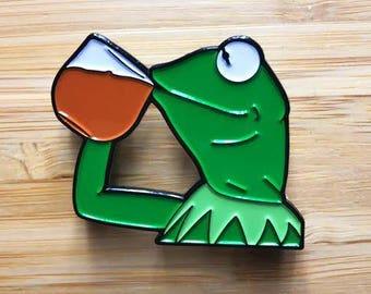 """Funny Frog Enamel Pin, Cute Jewelry, 1.5"""" Lapel Pin, Pin Button, Cute Soft Enamel Pin, Internet Meme, Pop Culture Pins, Cute Pins"""