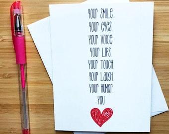 Sweet Romantic Love Card For Boyfriend Girlfriend, Cute Love Card Husband Wife, Happy Anniversary Card, I Love You Card, Just Because Card