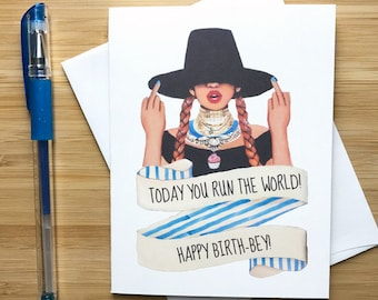 Cute Fingers Up Birthday Card, Hop Hop Gift, Happy Birthday, Cute Birthday Card for Her, Hip Hop bday, Rap Music, Pop Music, Music Quotes