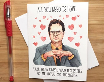 Cute Dwight Love Card, Funny Office Valentines Card, Happy Anniversary Love Card, Just Because Romantic Greeting for BF GF, Love You Card