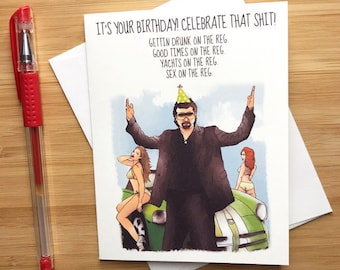 Funny Its Your Birthday Celebrate That Sht Card Cards Danny McBride Guy Baseball Theme