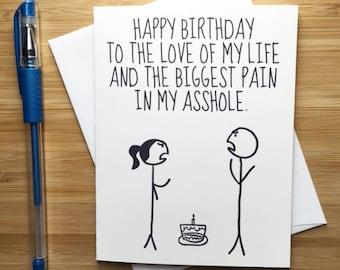 Funny Happy Birthday Card for Boyfriend Girlfriend. Cute Birthday Card, Happy Birthday, Birthday Gift Husband, Birthday Card Wife, Bday Card