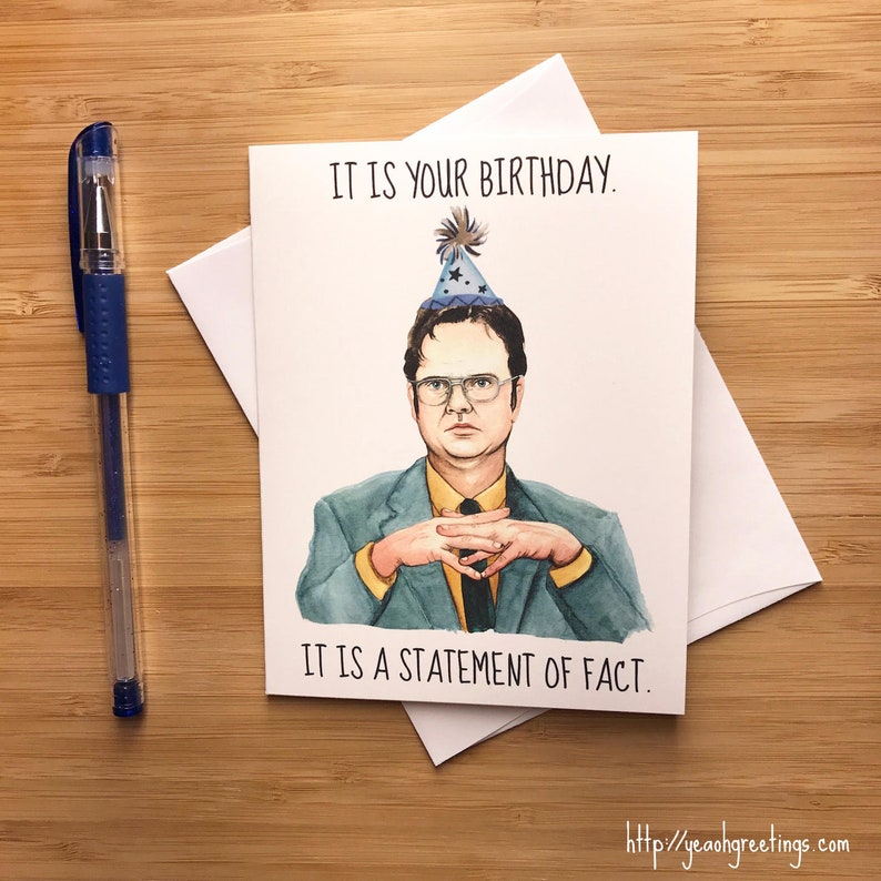 Funny Dwight Office Birthday Card Nerdy Greeting