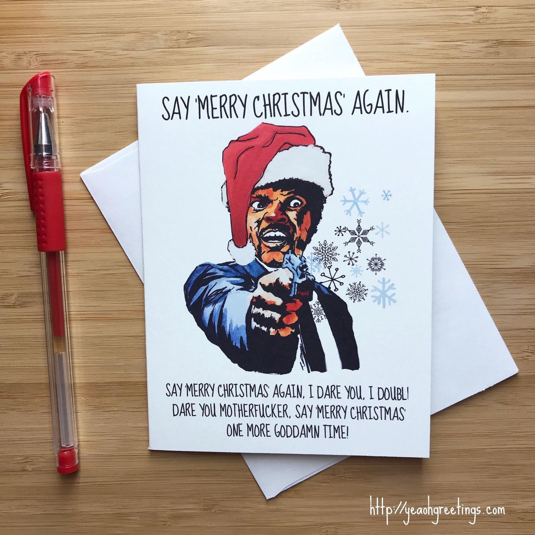 Lustige Sam Jackson Weihnachten süße Pop-Kultur Urlaub Karte | Etsy