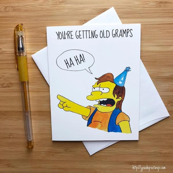 Funny Youre Getting Old Gramps Birthday Card Etsy