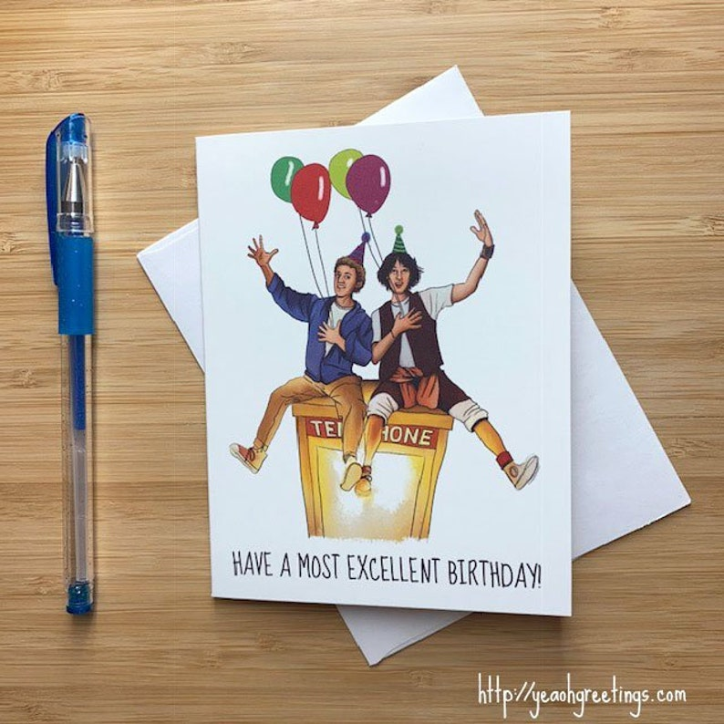 image relating to Vsd 190 Printable titled Humorous Comprise a Highest Ideal Birthday Card, 1980s Motion pictures, Pop Lifestyle Birthday, Keanu Reeves, Online video Artwork Print, Video clip Offers, Lovable Birthday