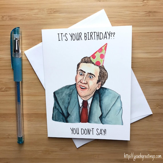 Nicolas Cage Handmade Birthday Card Funny Nicolas Cage Nic Etsy
