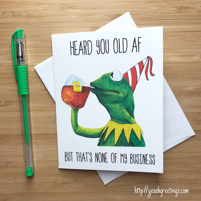 Funny Frog None Of My Business Birthday Card Internet Meme Greeting
