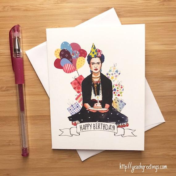 Frida Kahlo Birthday Card Feliz Cumpleanos Frida Kahlo Etsy