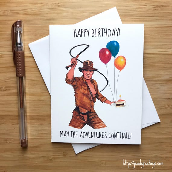Süße Harrison Ford Geburtstagskarte 80er Jahre Pop-Kultur