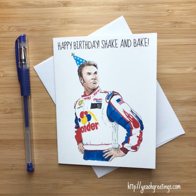 Funny Shake and Bake Birthday Card, Will Ferrell, Pop Culture Movies, Handdrawn Art, Birthday Card Boyfriend, Guy Birthday Gift, Man Card