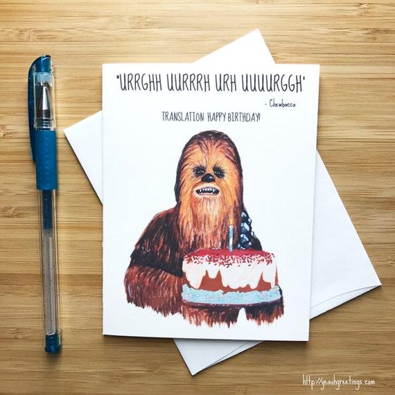 Cute chewie birthday card birthday greeting boyfriend sci fi birthday birthday party kids birthday party favor happy birthday card image 0 m4hsunfo