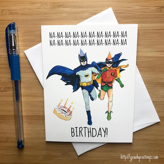 Funny Nananana Birthday Card 1960s Superhero Comic Etsy