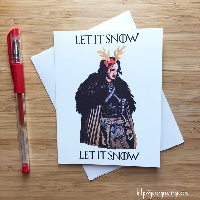 Cute 'Let it Snow' Christmas Card, Funny Christmas Card, Merry Christmas Greeting Cards, Xmas Card Bulk Set, Happy Holiday Card Set