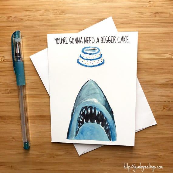 Shark Birthday Card Great White Shark Pop Culture Card 80s Etsy