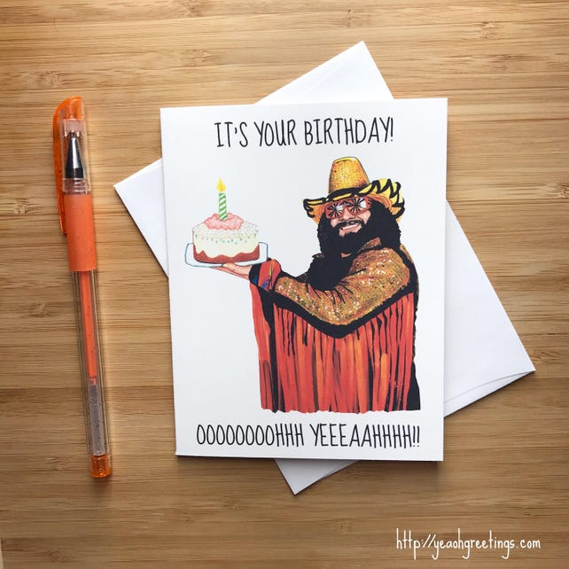 Funny 1980s Wrestler Birthday Card Happy For Father Gift Boyfriend Party Husband