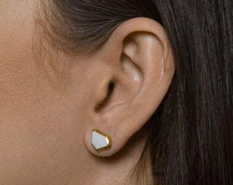 Porcelain Earrings, Ceramic Earrings, Ready To Ship, Ceramic Jewelry, Porcelain Jewelry, White Earrings Gold, Stud Earrings Hypoallergenic