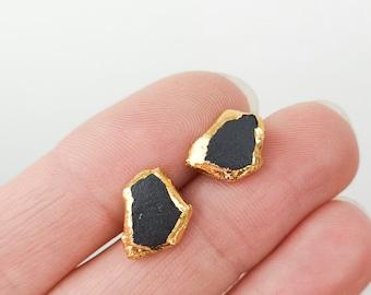 mens earrings, black and gold earring, porcelain earring, stud earrings men, minimalist earrings, OOAK, black earrings, porcelain earri gs