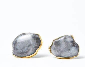 Mens earrings, earrings for men, marble earrings, tiny earrings, ceramic earrings, porcelain earrings, marble stud earrings, glossy earrings