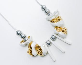 White necklace, porcelain necklace, ceramic necklace, porcelain jewelry, gold necklace, necklace statement, hematite necklace, OOAK necklace
