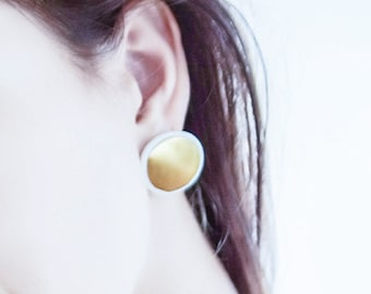 porcelain earrings, ceramic earrings, white earrings, gold earrings, wedding earings, white and gold earrings, round earrings,