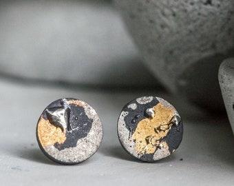 Small earrings, mens earrings, earrings for men, ceramic jewellery, porcelain jewellery, small black earrings, black stud earrings, ceramics