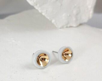 Porcelain earrings, white ceramic earrings, round earrings, gold earrings, white earrings, bridal earrings, wedding earring, minimal earring