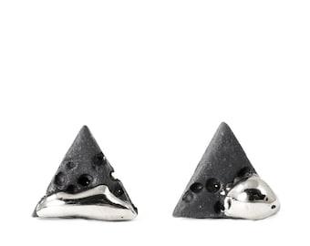 Porcelain Earrings, mens Earrings, Black Jewelry, Triangle Earrings, Jewelry For Men, Bold Earrings, Style Earrings