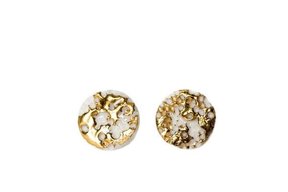 bridal jewelry Ceramic earrings Minimalist Jewelry Geometric Studs WHITE Studs bridal earrings Geometric earrings wedding earring,