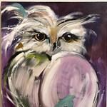 Owl Painting on Wood Original Art
