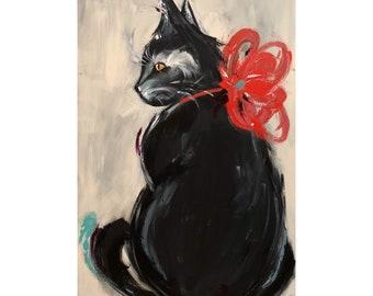 Cat Painting on a Wood Panel Original Cat Art Kitty Black