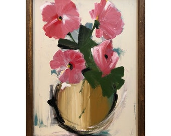 Flower Painting in a Wood Frame Original Art Pink