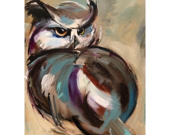Owl Painting on a Wood Panel Original Art