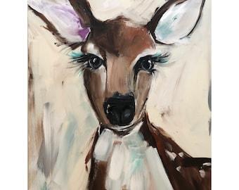 Deer Painting on a Wood Panel Original Art
