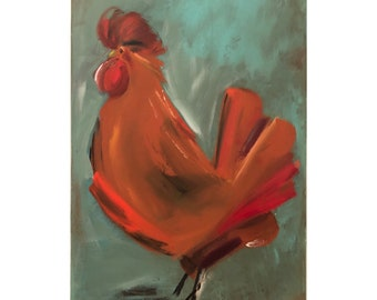 Rooster Painting on a Wood Panel Original Art