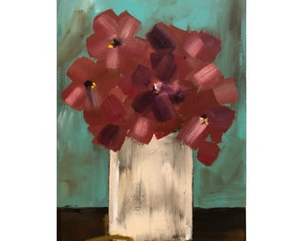 Flower Painting on Wood Panel Original Art Turquoise